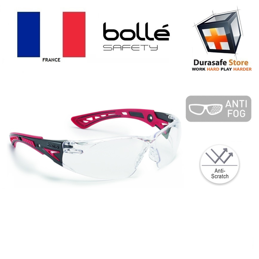 Anti Fog Anti Scratch Safety Spectacles Glasses Clear Lens X3 Pack Bolle Rush