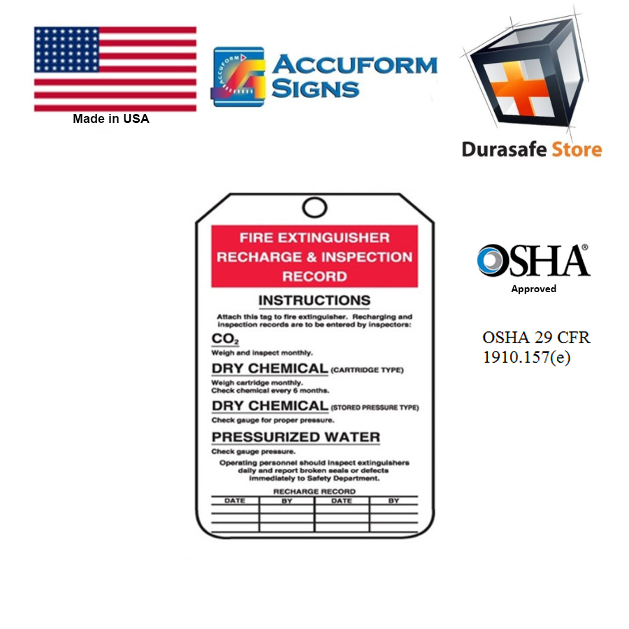 Accuform MGT208PTP Fire Extinguisher Recharge & Inspection Record Plastic  Tag 5-7/8