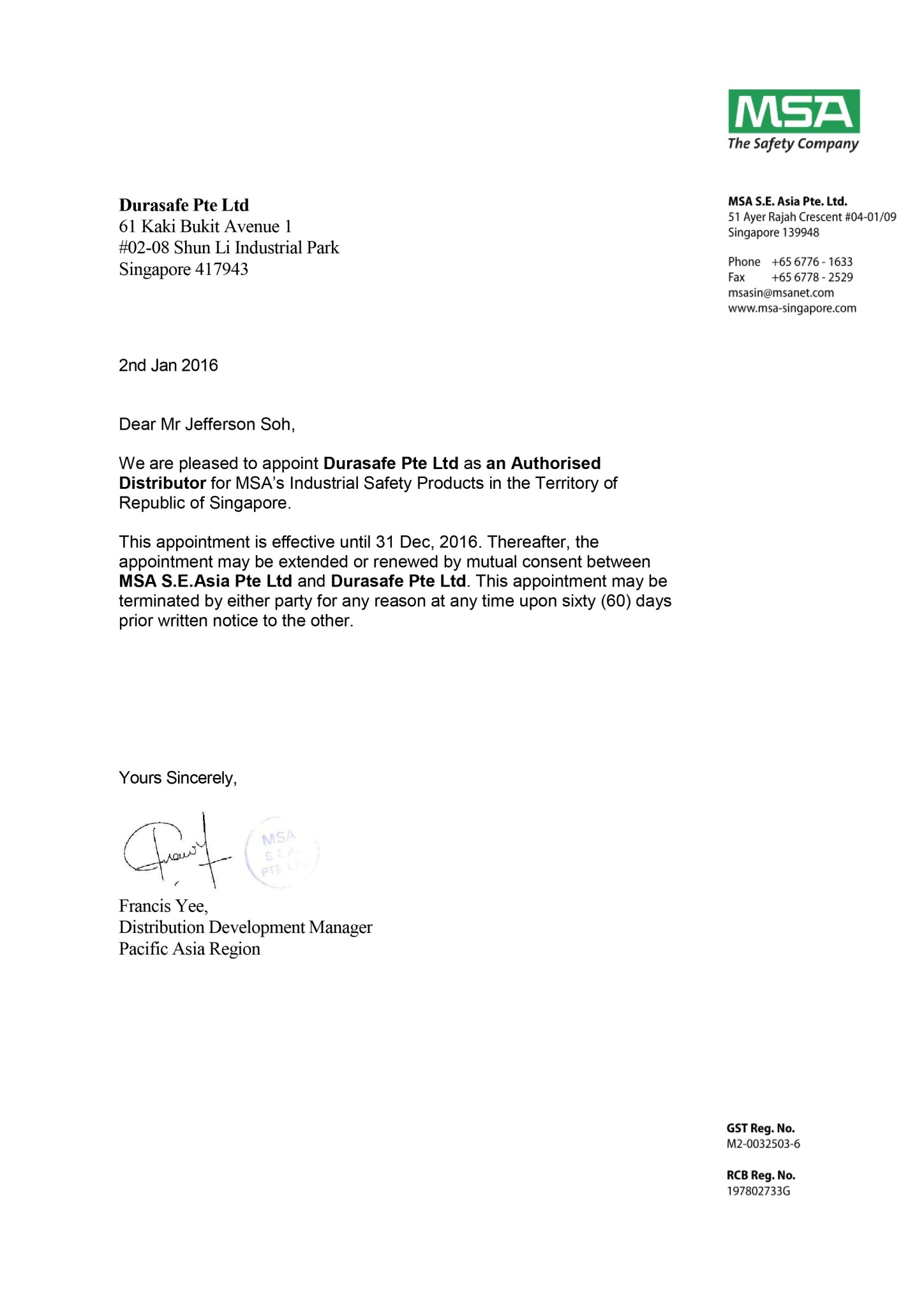 Distributor Appointment Letter - Durasafe 2016-01
