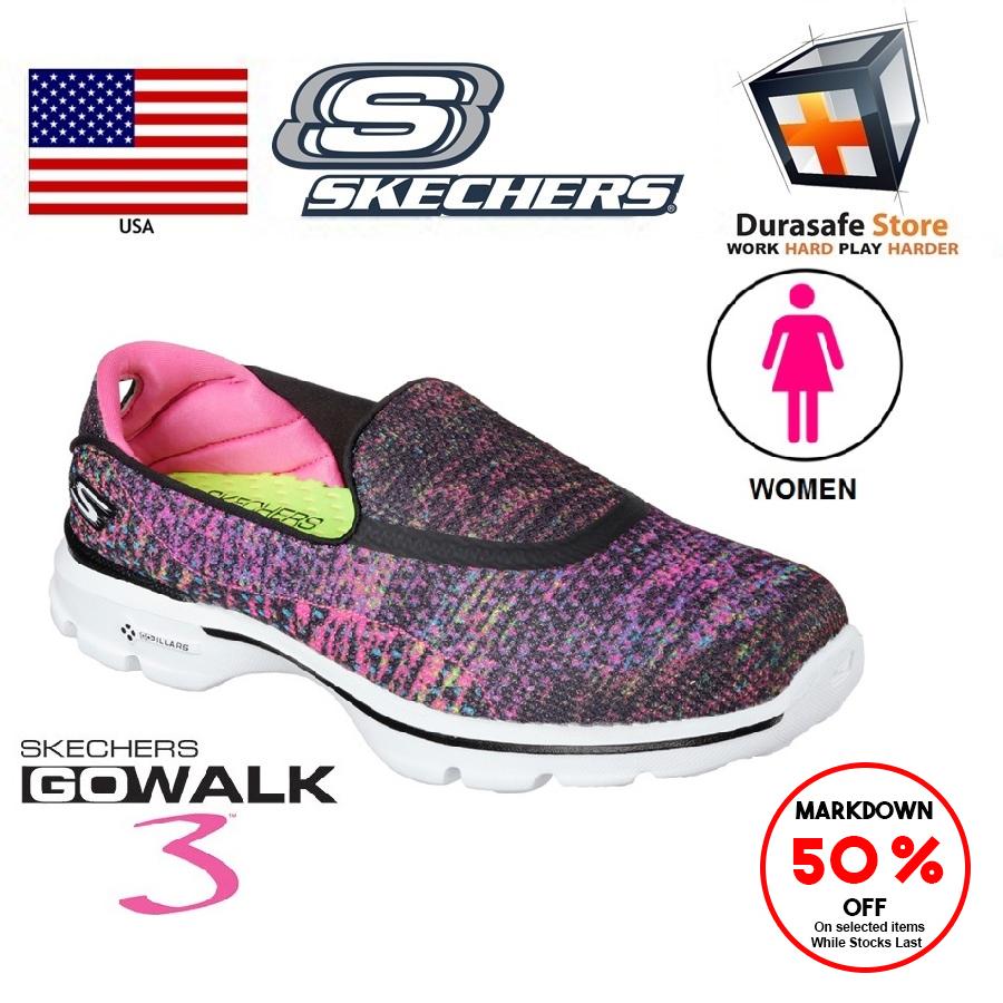 f2e34b0f0b SKECHERS 14057 Women's Go Walk 3 Glisten Shoes - Black/Multi Size 6-10