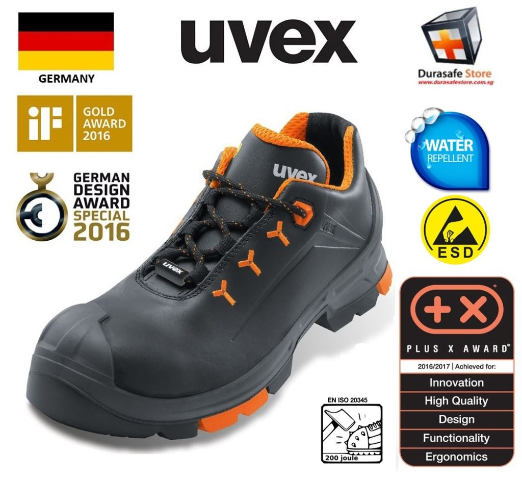 7e93d3daa25 Uvex 6502 Uvex 2 Lightweight Safety Shoe Black/Orange Size 39 - 46