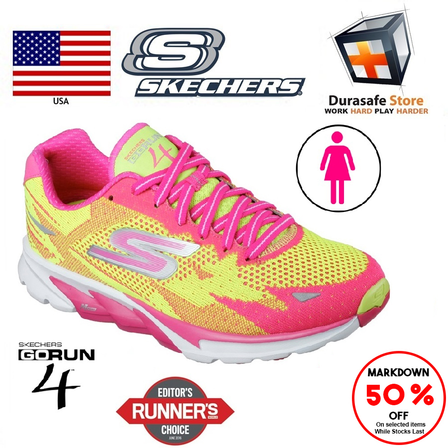 SKECHERS 13996 Women's GO Run 4 Shoes LimeHot Pink Size 6 10 Durasafe Shop