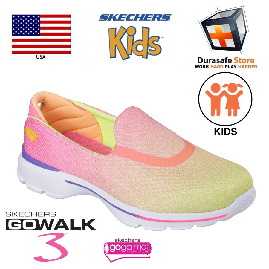 SKECHERS 81072L Kid's GO Walk 3 Shoe YellowPink Size 1 5 Durasafe Shop