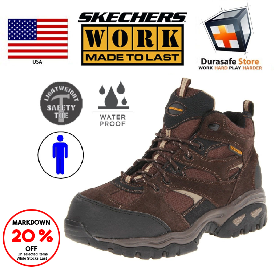 c1450f49a8a SKECHERS 76987 Men Energy Clan Safety Shoe Brown Size 8-11