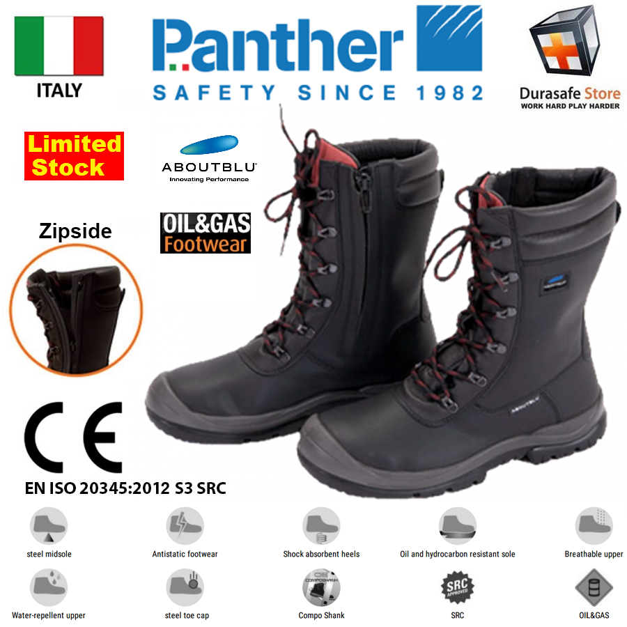 45761ec3b9f PANTHER 25042 Ranger Boots Zip/Lace Safety Boot Black, Size 37-46
