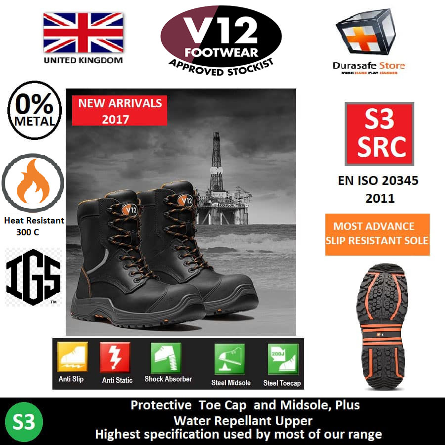 0710dc4bc28 V12 VR620.01 Avenger IGS High Leg Zip Side Safety Leather Boot Rubber Sole  Black Composite Toe Cap and Midsole