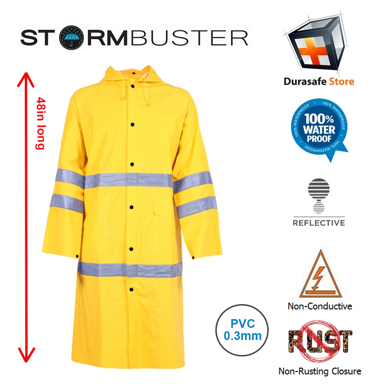 STORMBUSTER PVC/Polyester Yellow Raincoat with 2