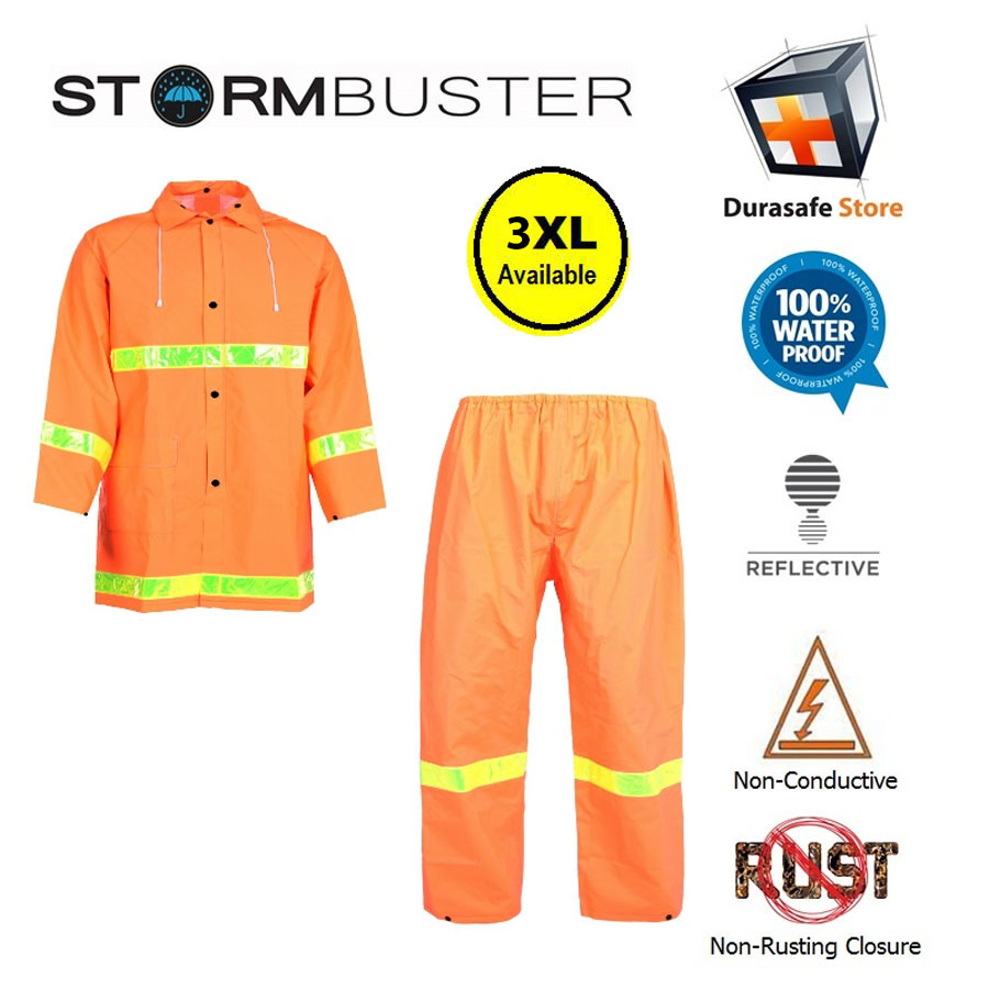 complete range of articles perfect quality novel style STORMBUSTER PVC/Polyester Hi-Vis Orange Rainsuit with 2