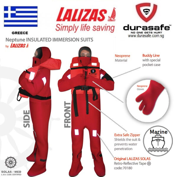 NOS NEW 2013 LALIZAS NEPTUNE ADULT X LARGE INSULATED IMMERSION WATER DIVING SUIT